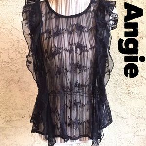 Angie XS embroidered Black Sheer Floral Peplum Top